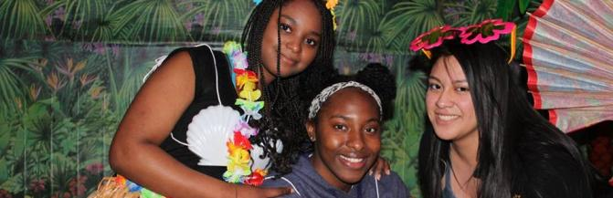 Students at a Luau