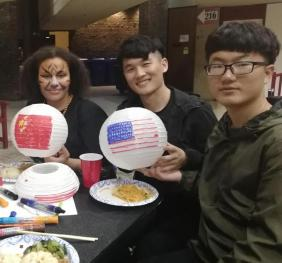 International Students with their Lanterns